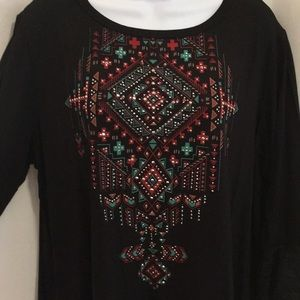 2XL Liberty Wear Bling 3/4 Sleeve Lace-up Back